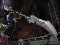 Death wielding a customized scythe in Darksiders II