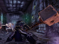 Death wielding huge rock hammer weapon in Darksiders II