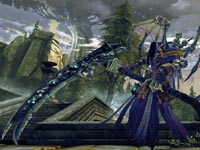 Death in armor and wielding his scythe in Darksiders II