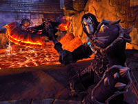 Death wielding firey axe-like weapon in Darksiders II
