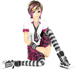 In-game model/dancer from DanceDanceRevolution for Wii dressed in one of many available outfits