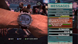 In-game wristwatch messaging and reminders in Dead Rising 2
