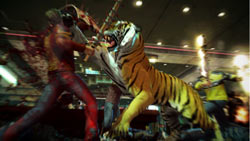 Co-op screen featuring the added danger of Snowflake the Siberian tiger in Dead Rising 2