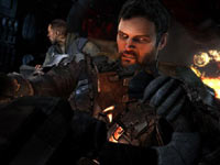 Isaac Clarke and John Carver in the cockpit of a craft in Dead Space 3