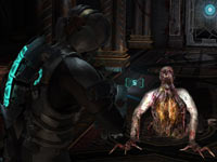 Isaac Clarke targeting a crawling Necromorph in Dead Space 2