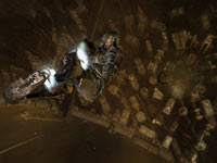 Isaac Clarke doing a planetary drop using his new booster powered space suit in Dead Space 2