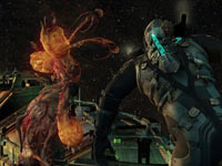 Isaac Clarke viewing a huge creature in space in Dead Space 2