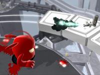 An Inki firing a rocket at you in de Blob 2