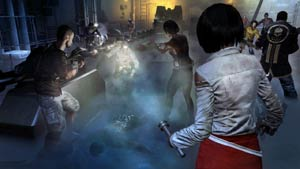 Xian using a flashlight on a zombies while other characters take aim in Dead Island Riptide