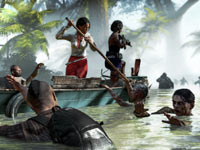 Xian Mei, Sam B, Logan Carter, and Purna working together to escape attacking zombies, by using a boat in Dead Island Riptide