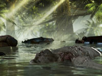 A zombie floating in the water in Dead Island Riptide