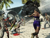 Purna displaying her run and gun skills on the beach against attacking zombies in Dead Island Riptide