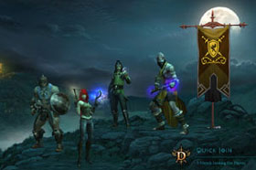 Game launch screen from Diablo III showing four of five character classes