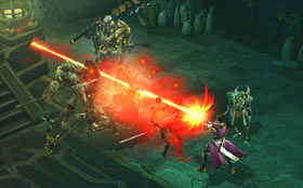 A female wizard vs. the Skeleton King in Diablo III