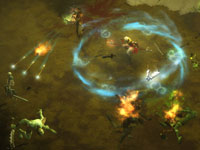 The Monk character class aided by an AI Scoundrel follower in Diablo III