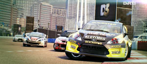 Rally racing in an urban environment in DiRT 3