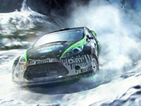 Racing in the snow in DiRT 3