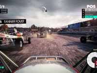 A multiplayer race screen utilizing cockpit view from DiRT 3