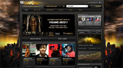 Def Jam Rapstar online community screen featuring player profiles, videos and more