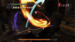 Dante battling a boss in Devil May Cry 3