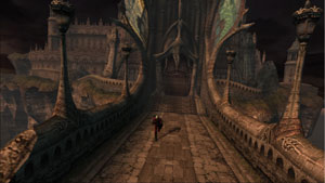 Dante running through an expansive environment in Devil May Cry