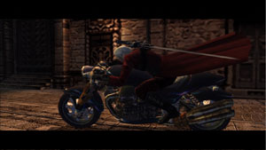 Dante on his motorcycle in in Devil May Cry 2