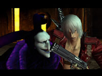Dante holding a gun on Arkham in his Jester form in Devil May Cry 3