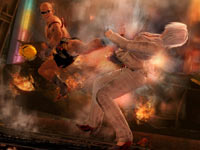 Christie getting knocked for a loop by a flying kick in Dead or Alive 5