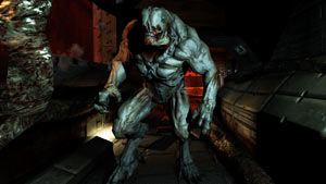 A charging Hell Knight in DOOM 3 BFG Edition