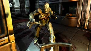 Using the chainsaw against a charging enemy in DOOM 3 BFG Edition