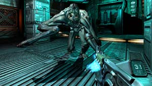 Unloading your weapon on a charging enemy in DOOM 3 BFG Edition