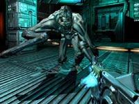 Using the plasma gun at close range in DOOM 3 BFG Edition