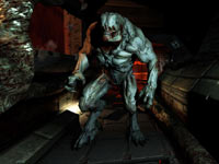 An approaching Hell Knight from DOOM 3 BFG Edition