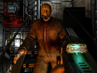 Taking aim at an approaching zombie in DOOM 3 BFG Edition