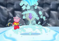 Boots directing Wii Remote play in 'Dora the Explorer: Dora Saves the Snow Princess' for Wii