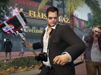 Frank West using the battery / sledge hammer weapons combo from Dead Rising 2: Off The Record