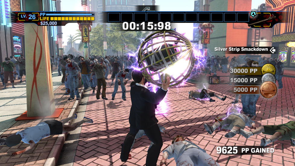 Frank West going for gold in a zombie killing challenge in Dead Rising