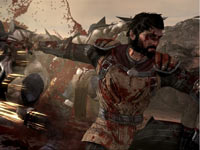 Male warrior spattered with the blood of his enemies in Dragon Age II