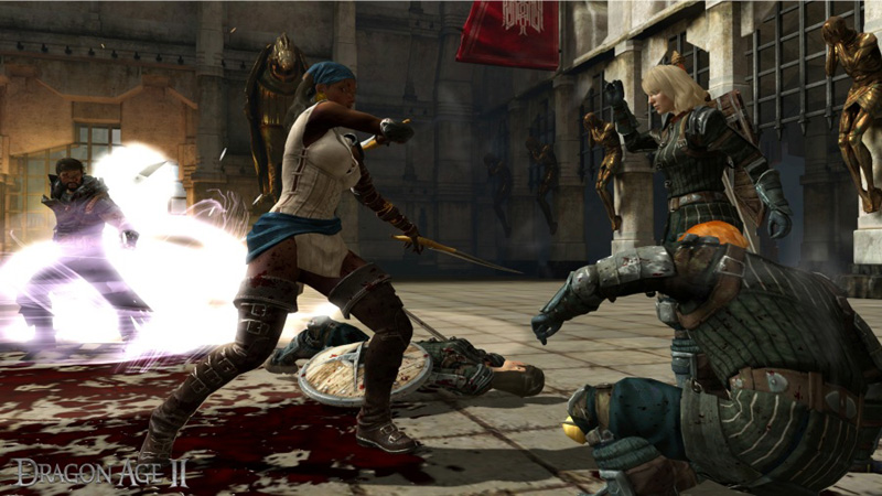 Female Rogue character in pirate garb besting human foes in Dragon Age