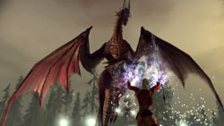 Fighting a dragon using magic in 'Dragon Age: Origins'