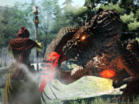 A party attack against a dragon in Dragon's Dogma