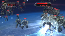 Hacking and slashing hordes of enemies in 'Dynasty Warriors: Gundam 2'