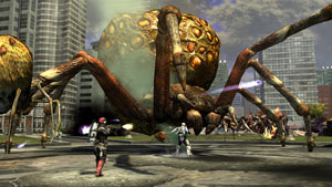 Squad-based action against huge alien spiders in Earth Defense Force: Insect Armageddon