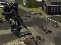 Using jet armor against ground-based ant enemies in Earth Defense Force: Insect Armageddon