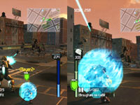 Split-screen co-op gameplay in Earth Defense Force: Insect Armageddon
