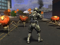 Using tactical armor and bazooka like weaponry against alien ticks in Earth Defense Force: Insect Armageddon