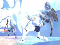 Enoch bathed in the bright light of battle in El Shaddai: Ascension of the Metatron