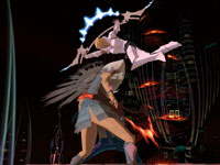 Enoch using one of his holy weapons against an enemy in El Shaddai: Ascension of the Metatron