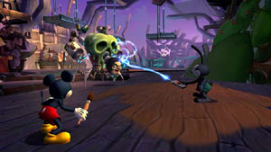 Oswald unleashing the power of his remote in Disney Epic Mickey 2: The Power of Two