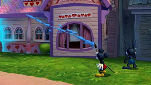 Mickey Mouse using his magical brush as Oswald looks on in Disney Epic Mickey 2: The Power of Two